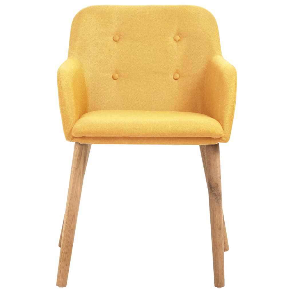 Dining Chairs 4 pcs Yellow Fabric and Solid Oak Wood 3