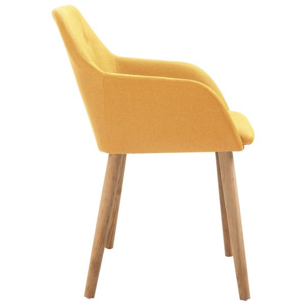 Dining Chairs 4 pcs Yellow Fabric and Solid Oak Wood 4