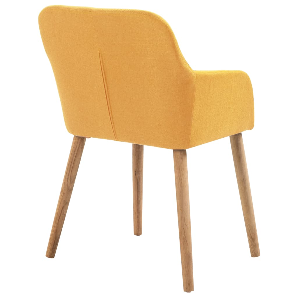 Dining Chairs 4 pcs Yellow Fabric and Solid Oak Wood 5