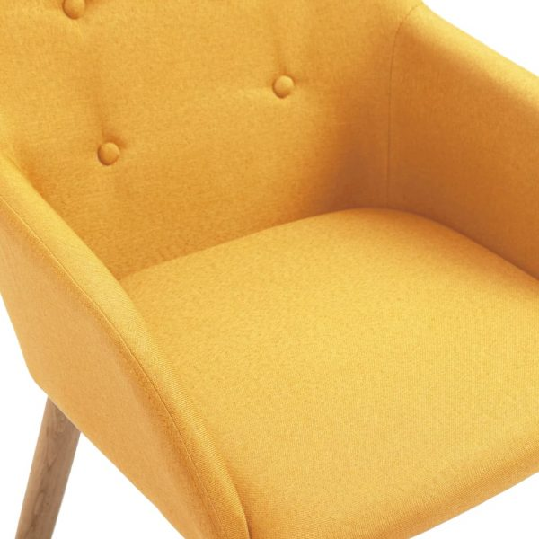 Dining Chairs 4 pcs Yellow Fabric and Solid Oak Wood 6