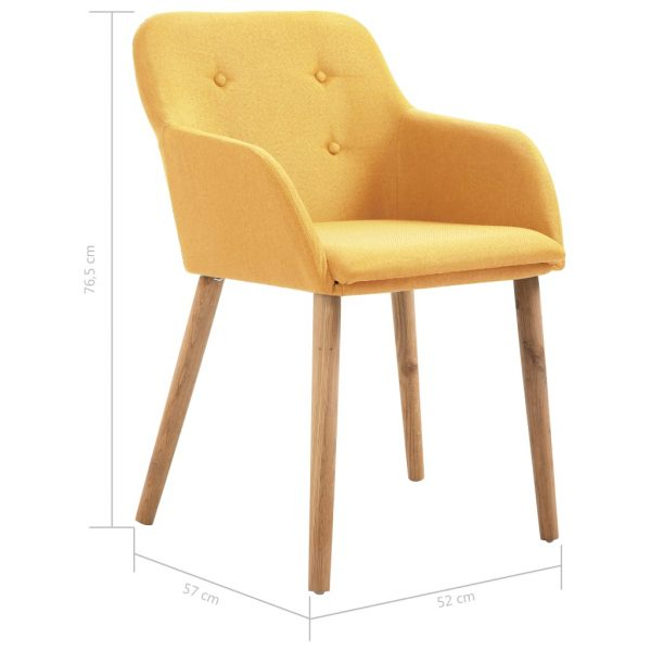 Dining Chairs 4 pcs Yellow Fabric and Solid Oak Wood 8