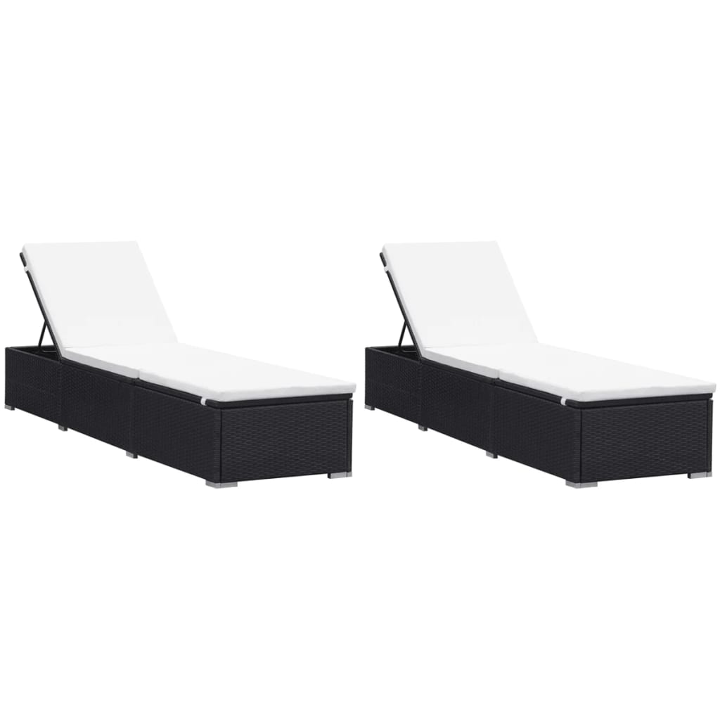 Sun Loungers with Cushions 2 pcs Poly Rattan Black 1