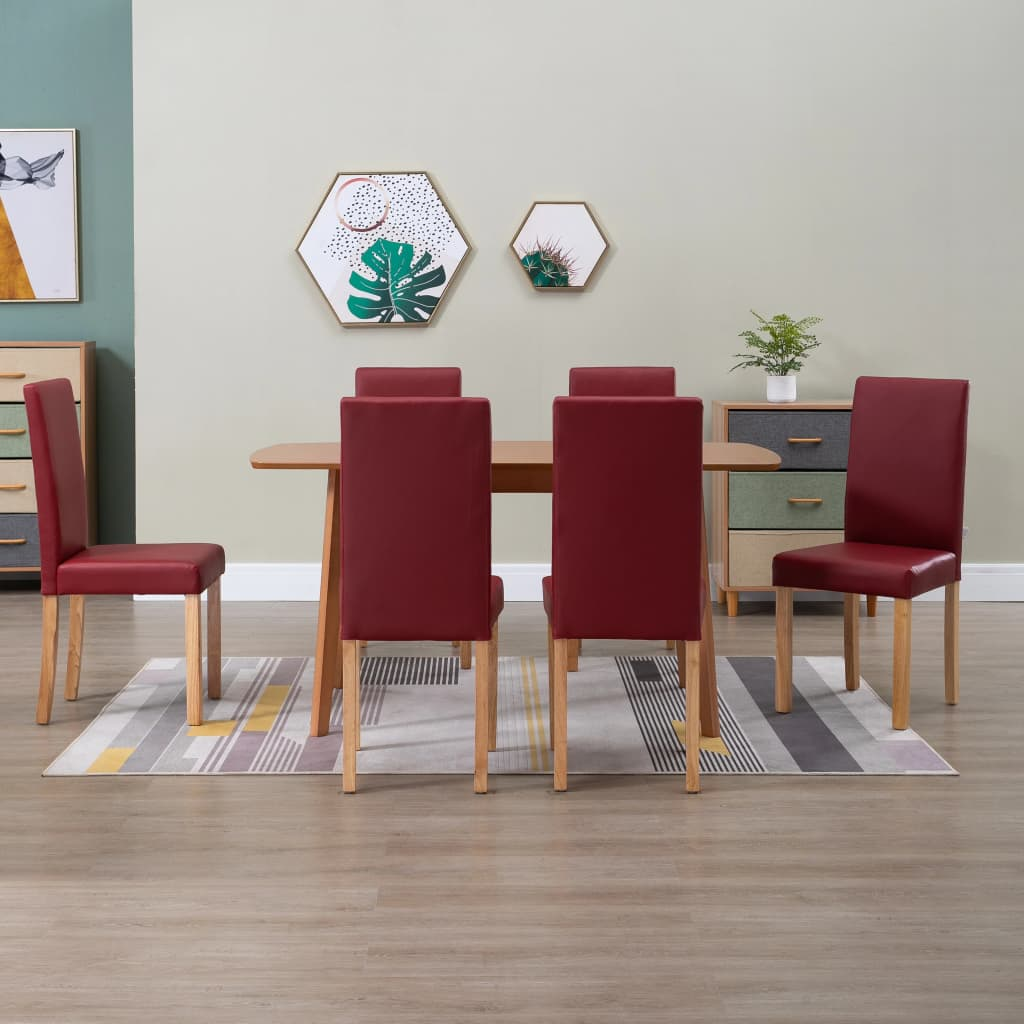 Dining Chairs 6 pcs Red Faux Leather