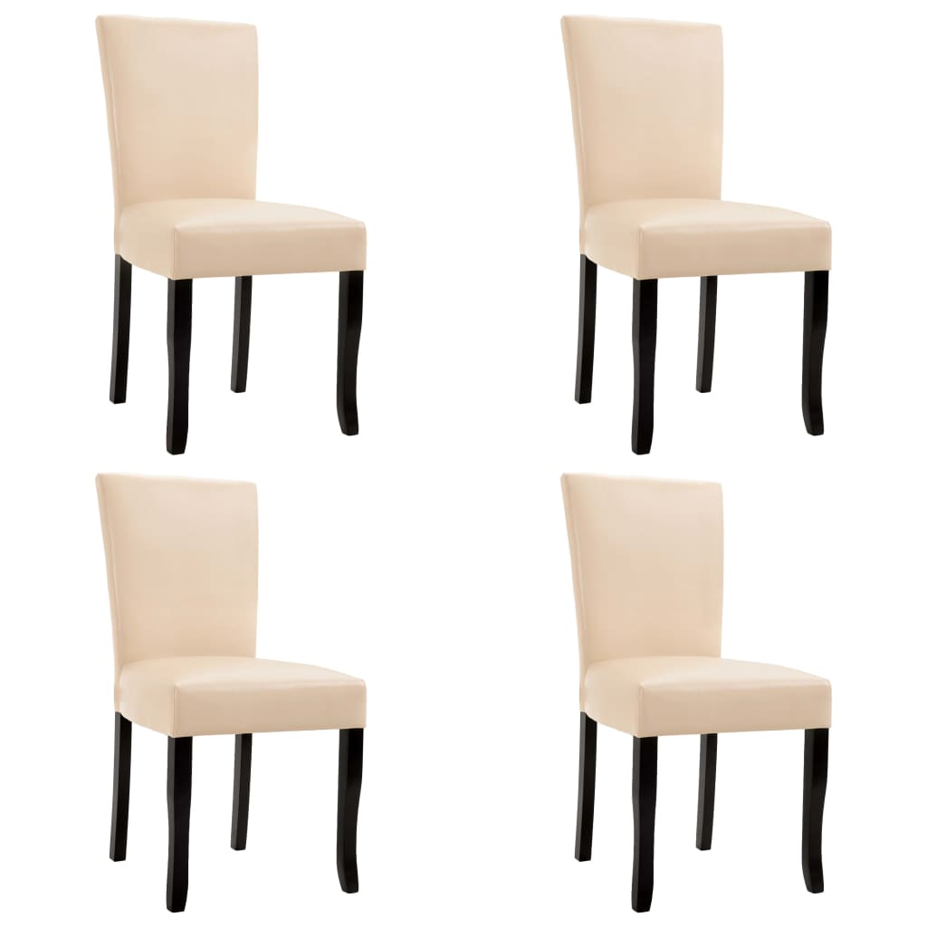 Dining Chairs 4 pcs Cream Faux Leather 1