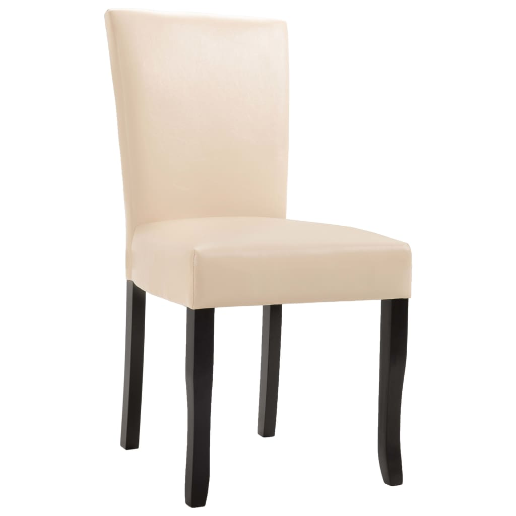 Dining Chairs 4 pcs Cream Faux Leather 3