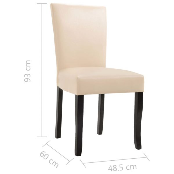 Dining Chairs 4 pcs Cream Faux Leather 8