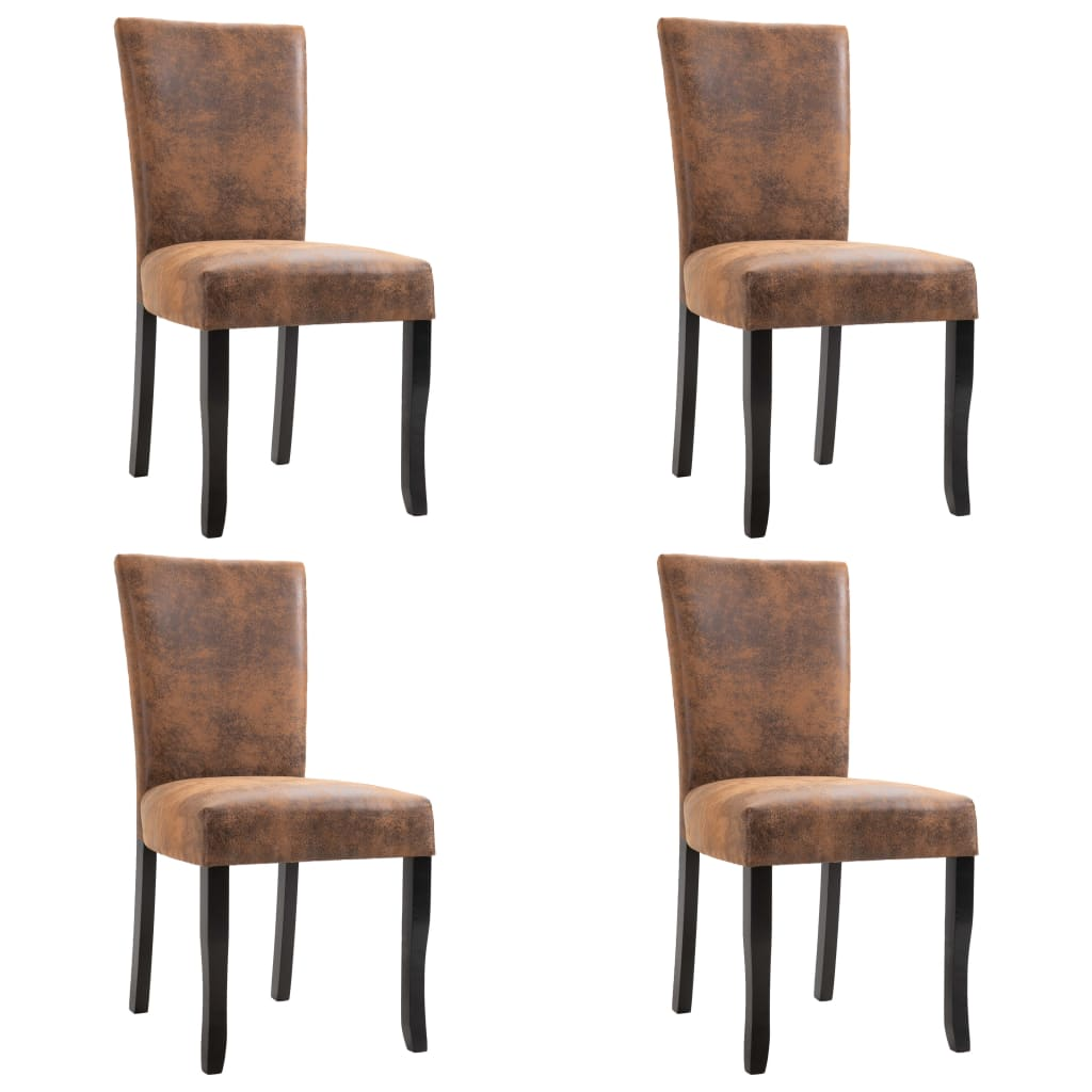 Dining Chairs 4 pcs Brown Faux Suede Leather 1