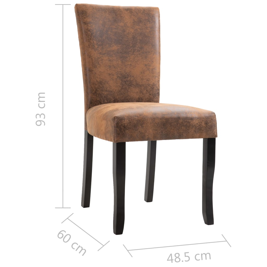 Dining Chairs 4 pcs Brown Faux Suede Leather 8