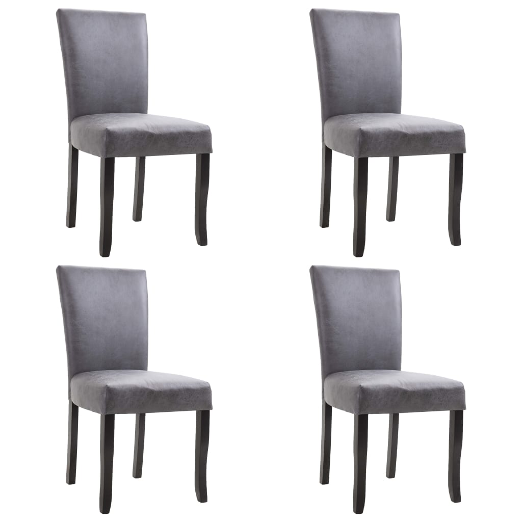 Dining Chairs 4 pcs Grey Faux Suede Leather