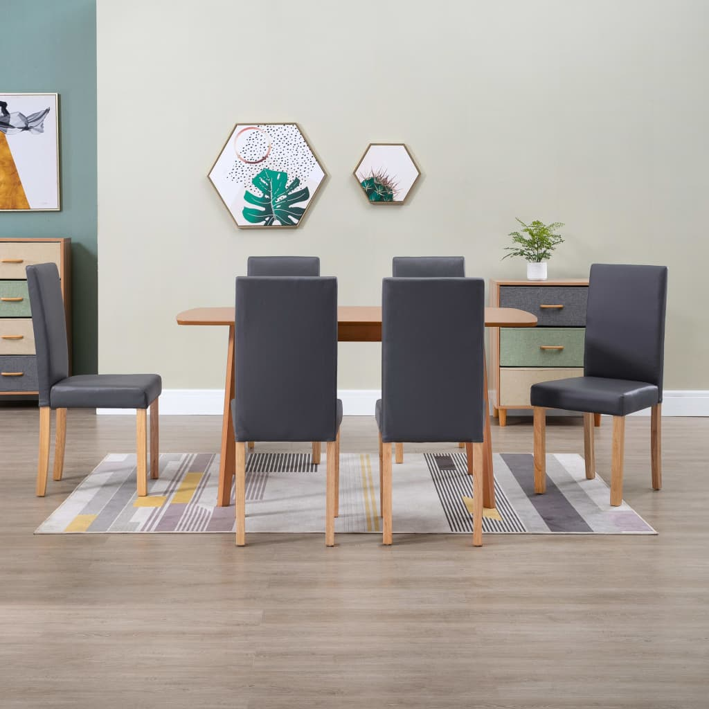 Dining Chairs 6 pcs Grey Faux Leather