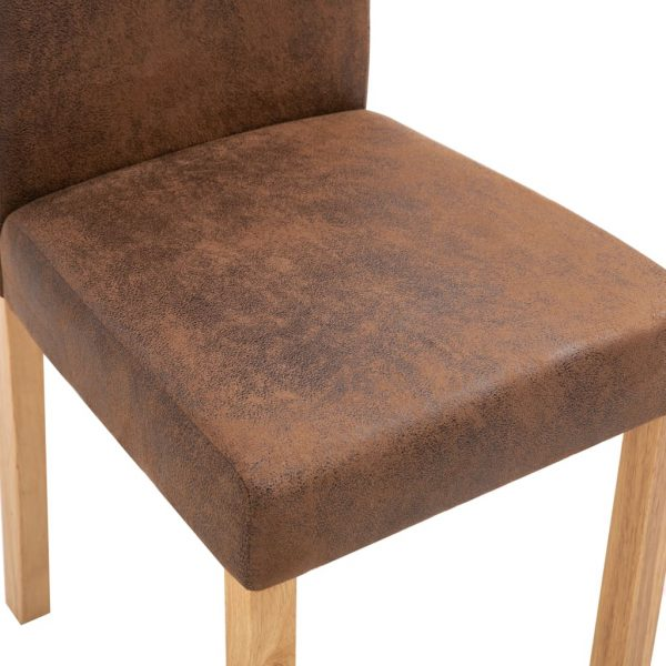 Dining Chairs 6 pcs Brown Faux Suede Leather 8