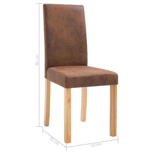 Dining Chairs 6 pcs Brown Faux Suede Leather 9