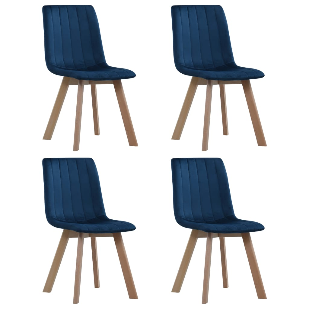 Dining Chairs 4 pcs Blue Velvet