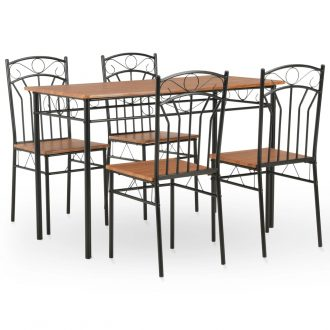 5 Piece Dining Set MDF and Steel Brown 1