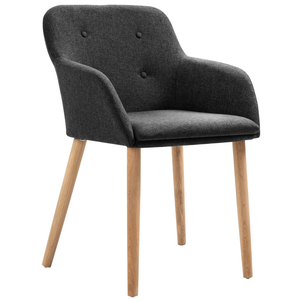 Dining Chairs 4 pcs Dark Grey Fabric and Solid Oak Wood 2