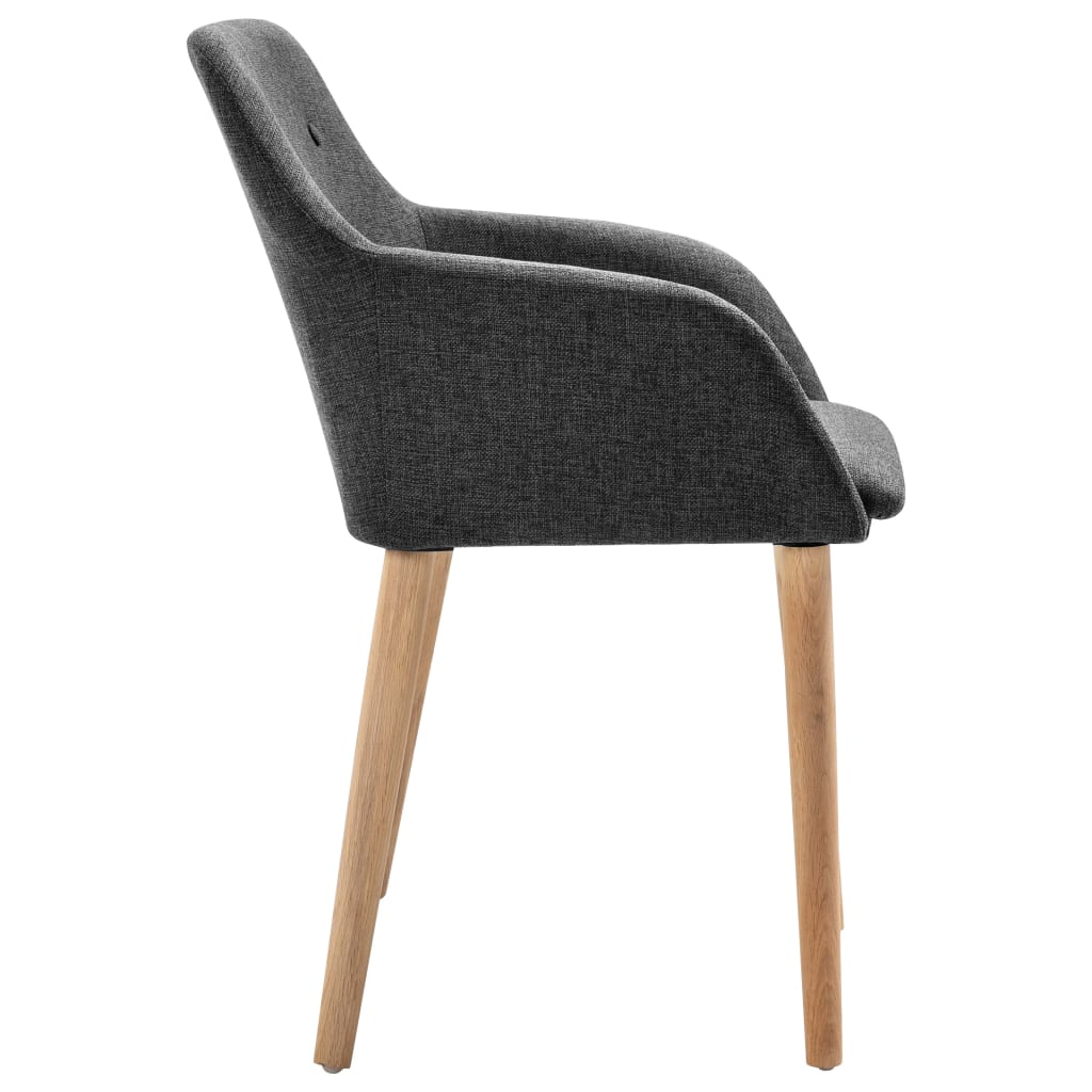 Dining Chairs 4 pcs Dark Grey Fabric and Solid Oak Wood 4