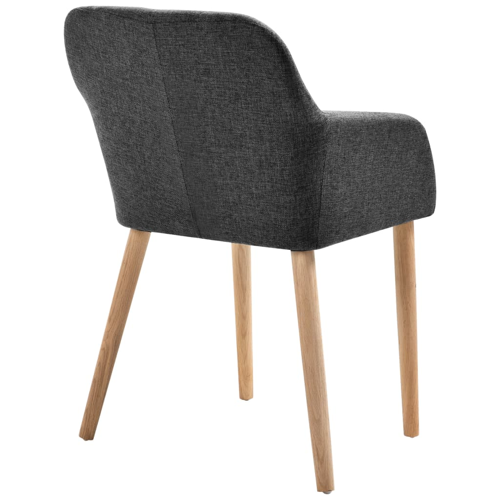 Dining Chairs 4 pcs Dark Grey Fabric and Solid Oak Wood 5