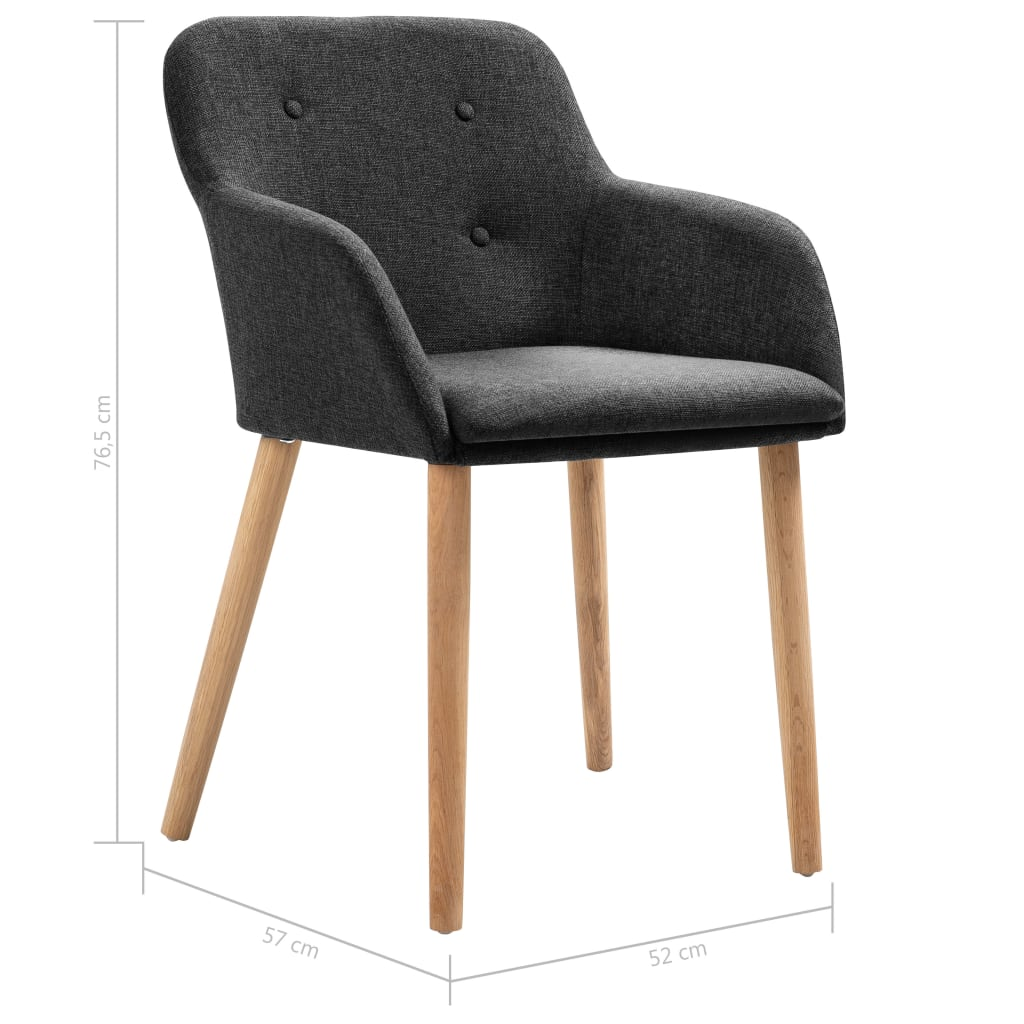 Dining Chairs 4 pcs Dark Grey Fabric and Solid Oak Wood 8