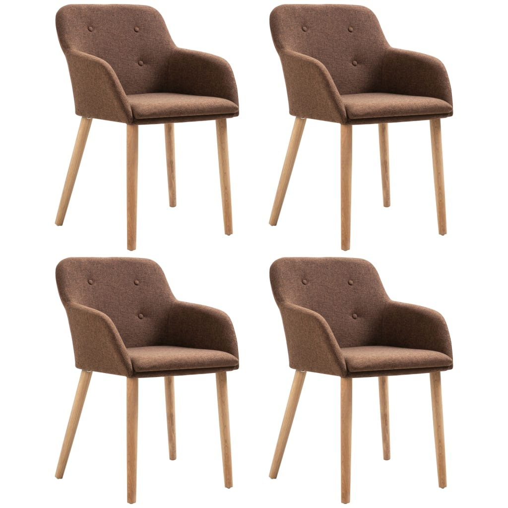 Dining Chairs 4 pcs Brown Fabric and Solid Oak Wood
