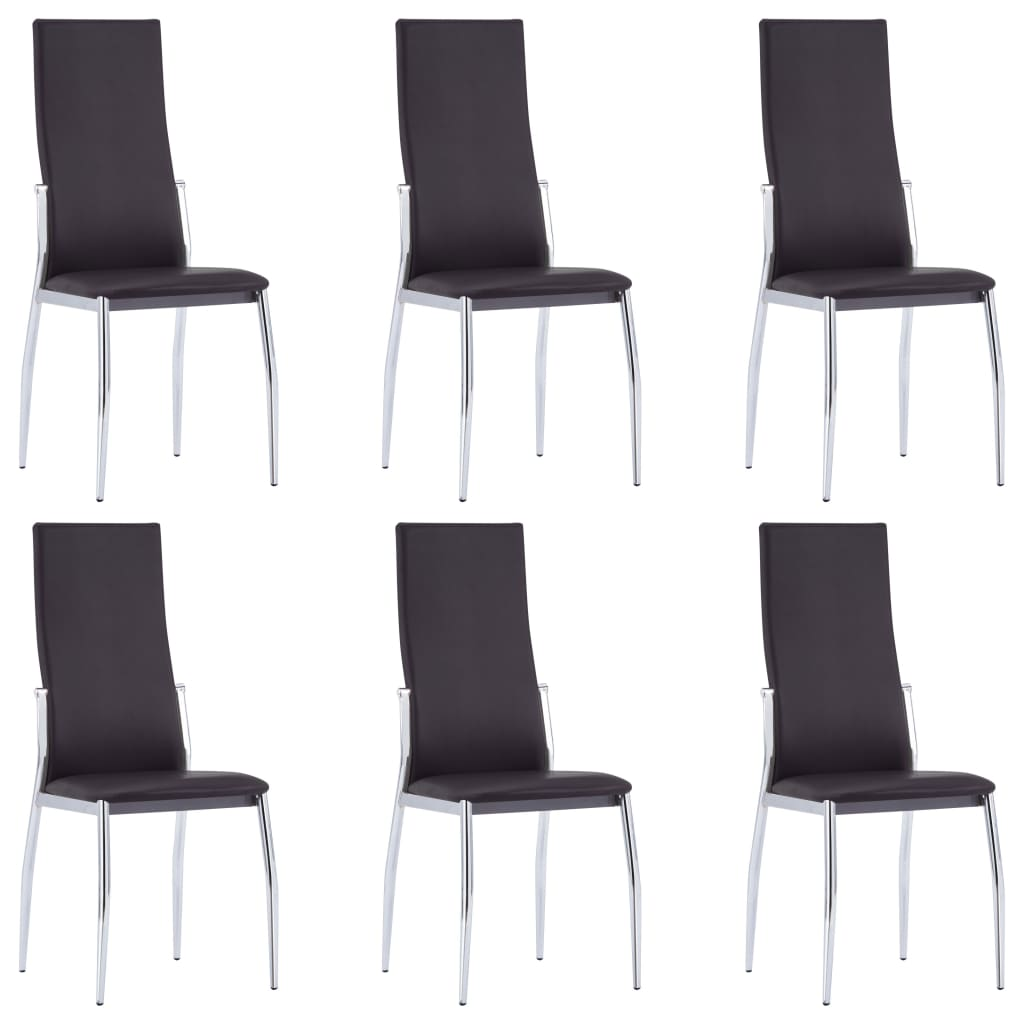 Dining Chairs 6 pcs Brown Faux Leather