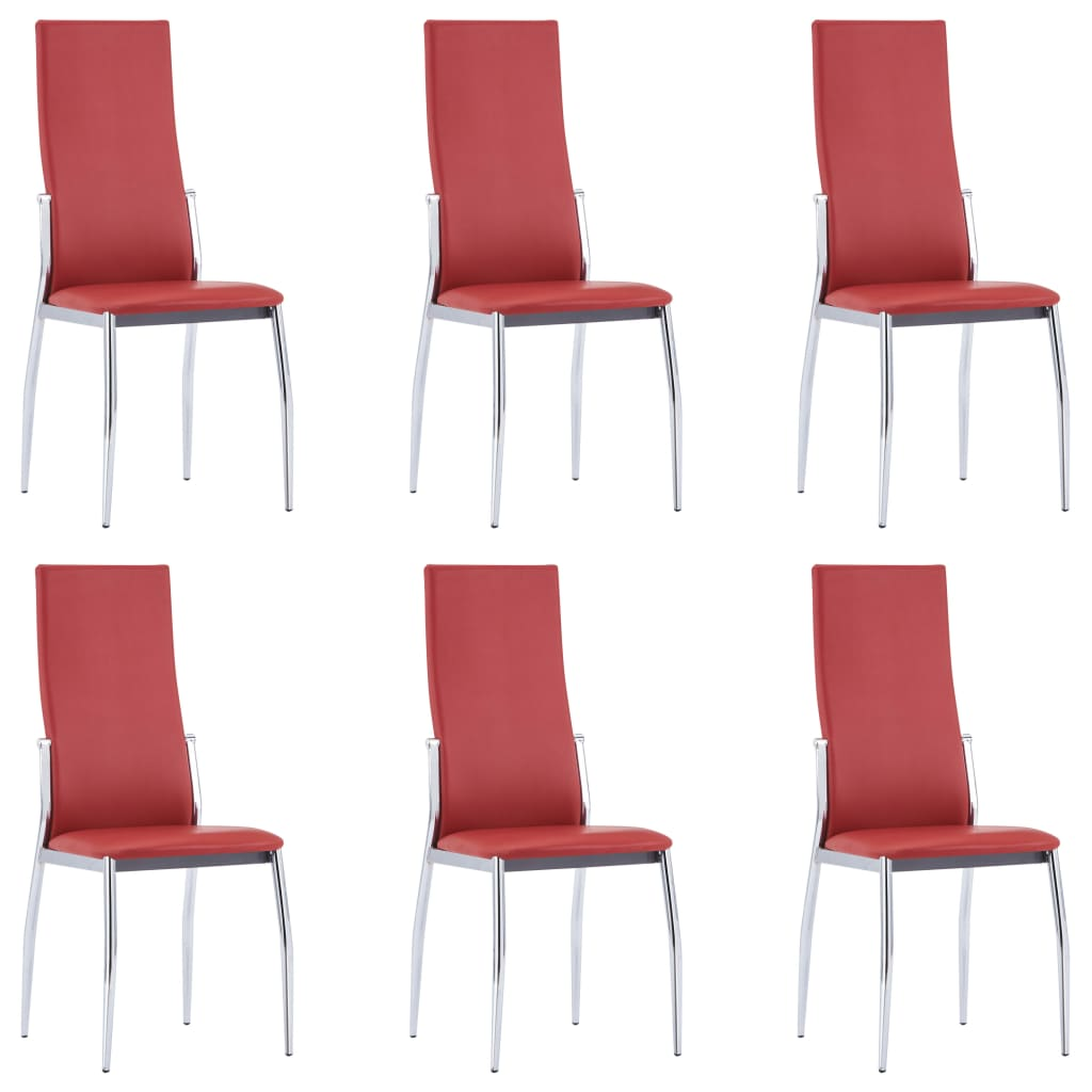 Dining Chairs 6 pcs Red Faux Leather 1