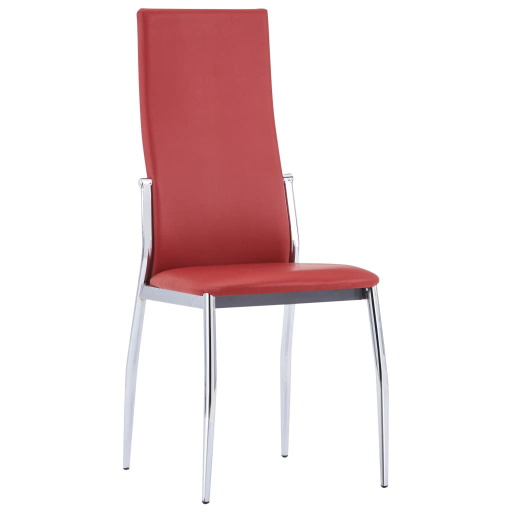 Dining Chairs 6 pcs Red Faux Leather 2