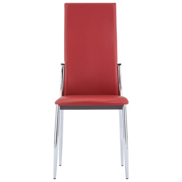 Dining Chairs 6 pcs Red Faux Leather 3