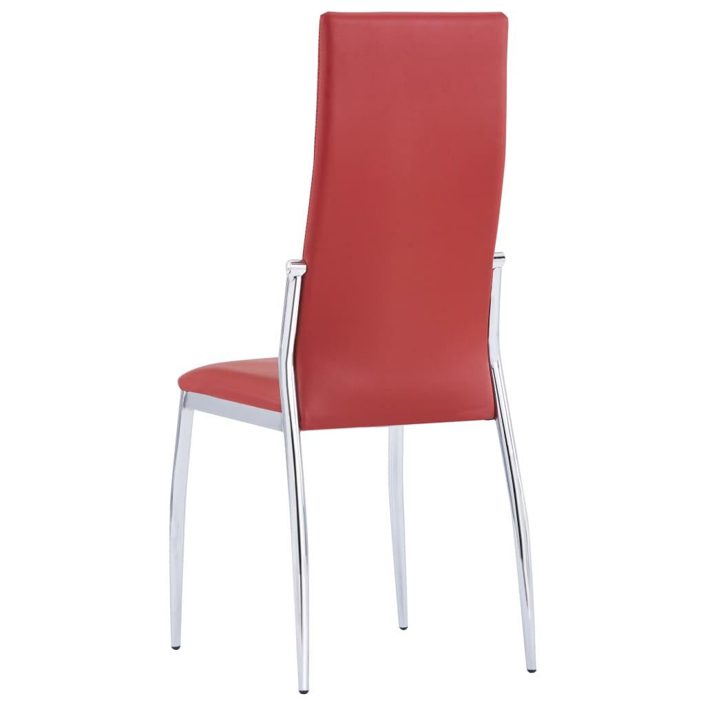 Dining Chairs 6 pcs Red Faux Leather 4