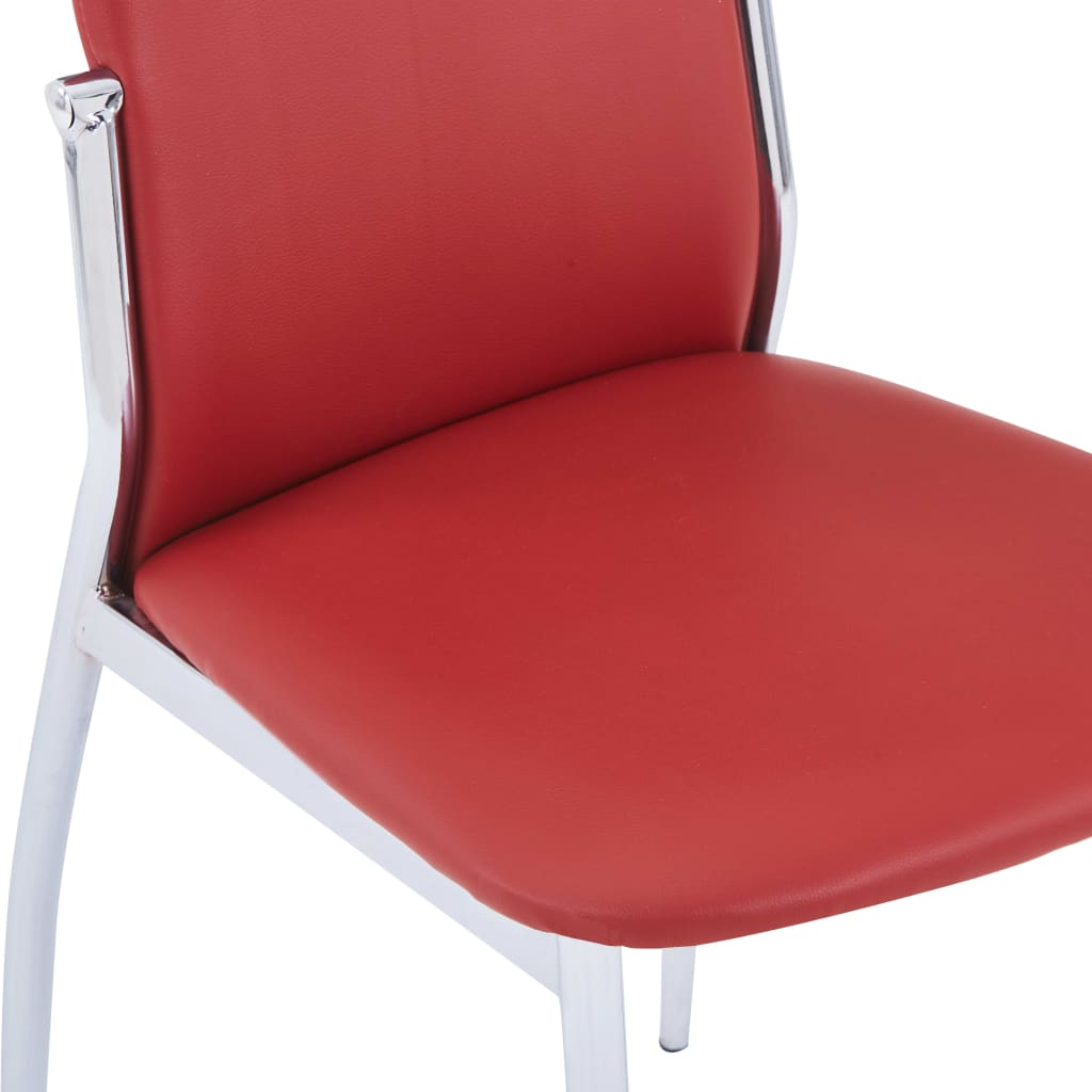 Dining Chairs 6 pcs Red Faux Leather 6