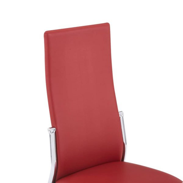 Dining Chairs 6 pcs Red Faux Leather 7