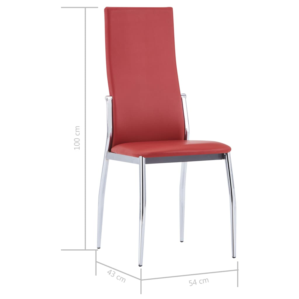Dining Chairs 6 pcs Red Faux Leather 8