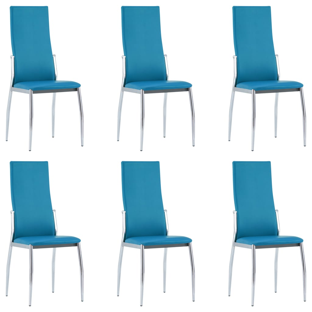 Dining Chairs 6 pcs Blue Faux Leather