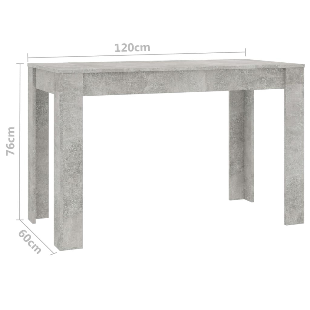 Dining Table Concrete Grey 120x60x76 cm Chipboard 6