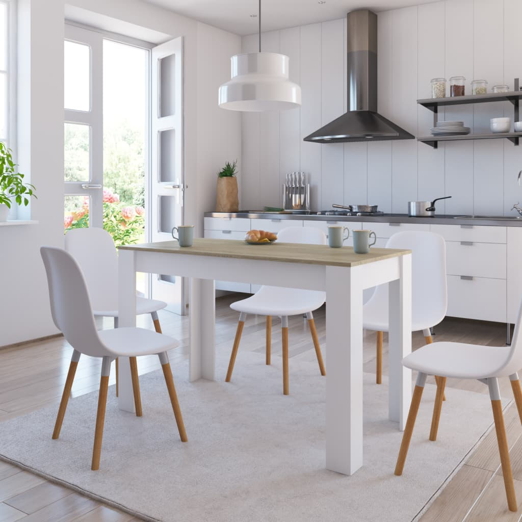 Dining Table White and Sonoma Oak 120x60x76 cm Chipboard 1