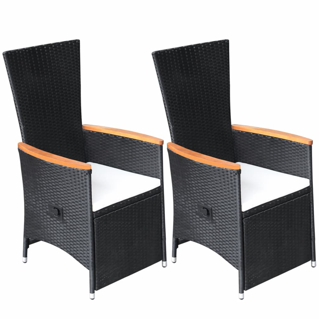 Reclining Garden Chairs 2 pcs with Cushions Poly Rattan Black