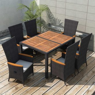 7 Piece Outdoor Dining Set Poly Rattan Acacia Wood Black 1