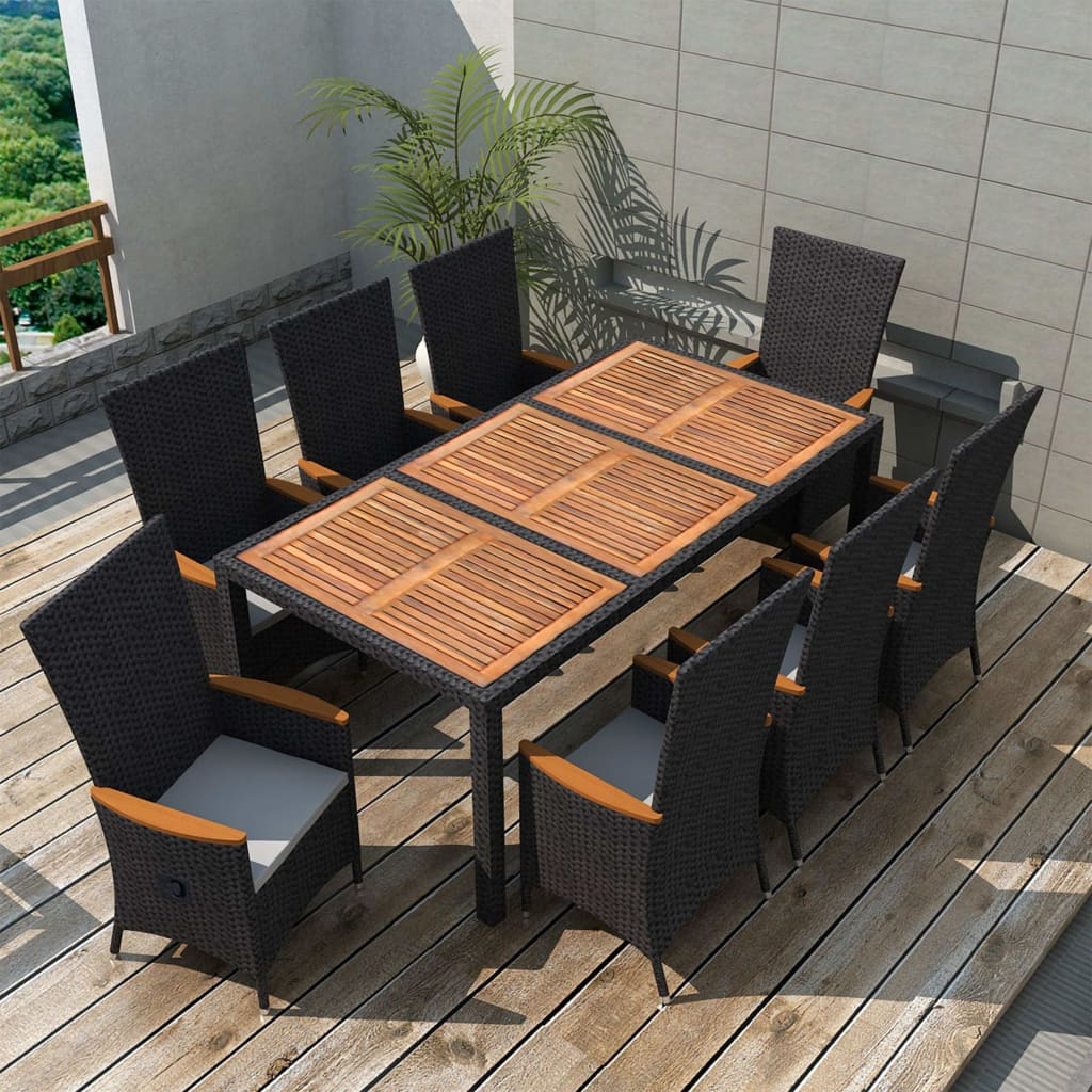 9 Piece Outdoor Dining Set Poly Rattan Acacia Wood Black 1