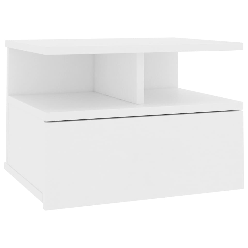Floating Nightstand White 40x31x27 cm Chipboard 2