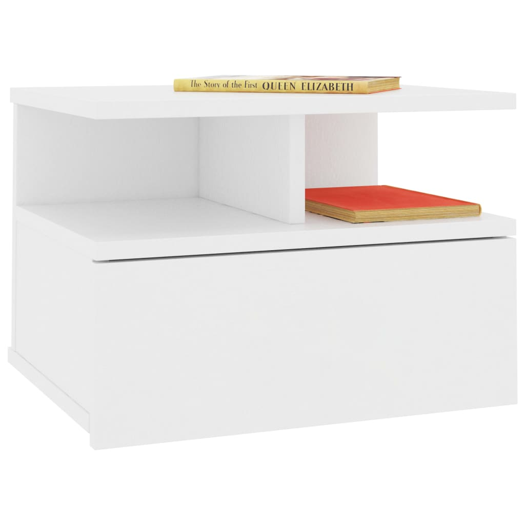 Floating Nightstand White 40x31x27 cm Chipboard 3