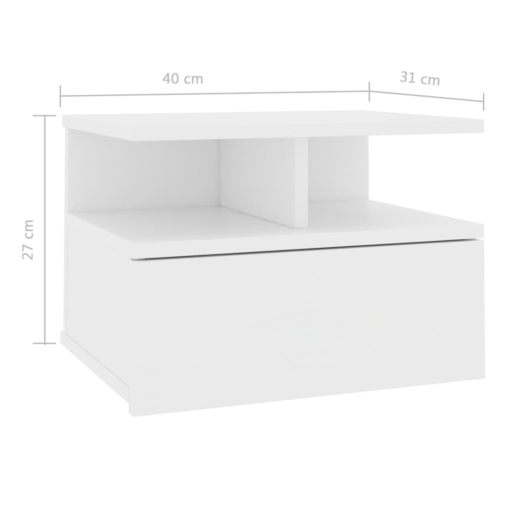 Floating Nightstand White 40x31x27 cm Chipboard 7