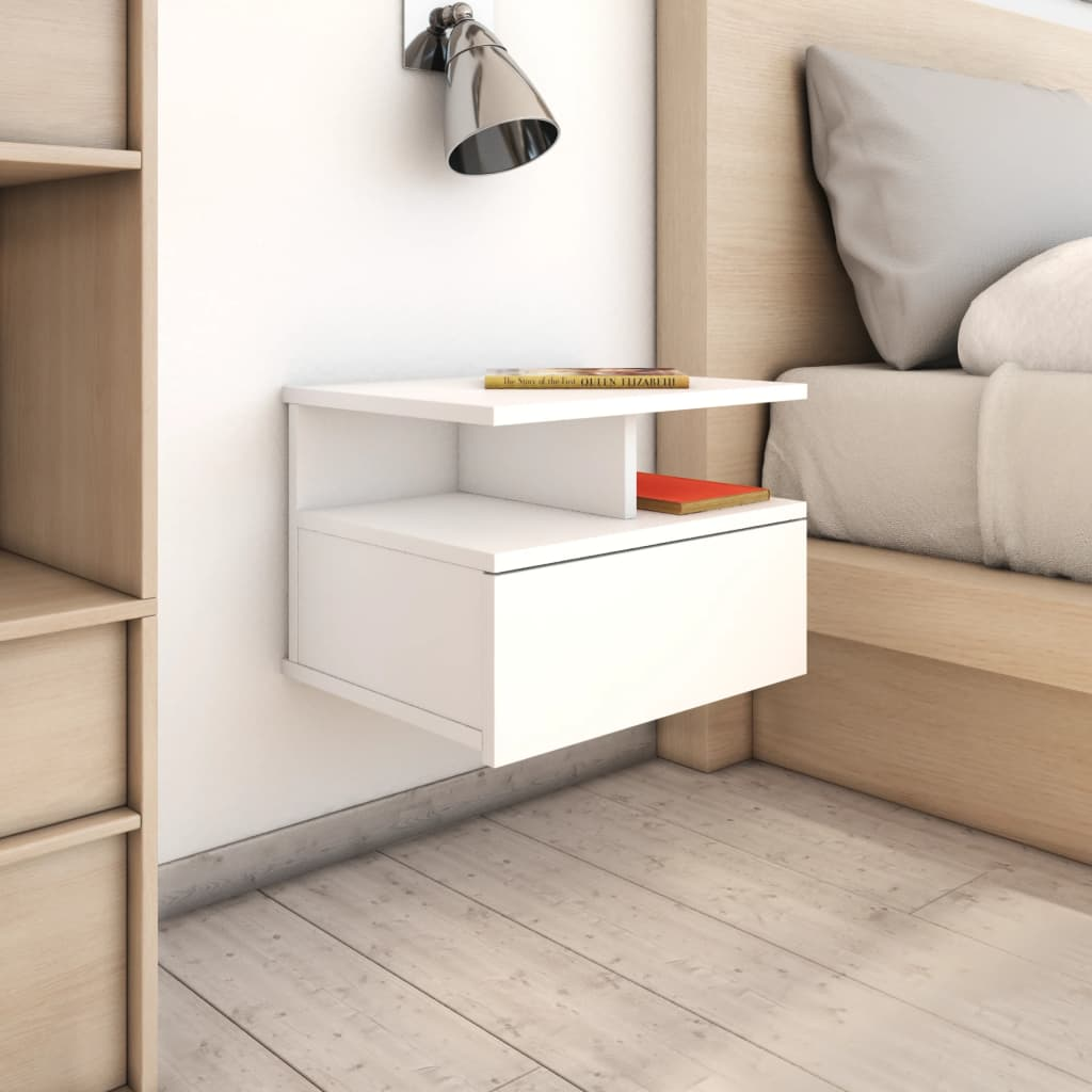 Floating Nightstand White 40x31x27 cm Chipboard 1