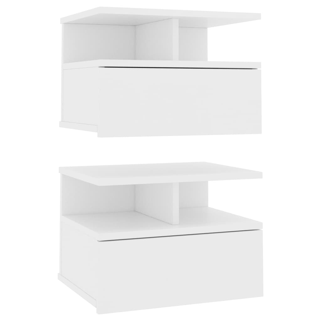 Floating Nightstands 2 pcs White 40x31x27 cm Chipboard 2