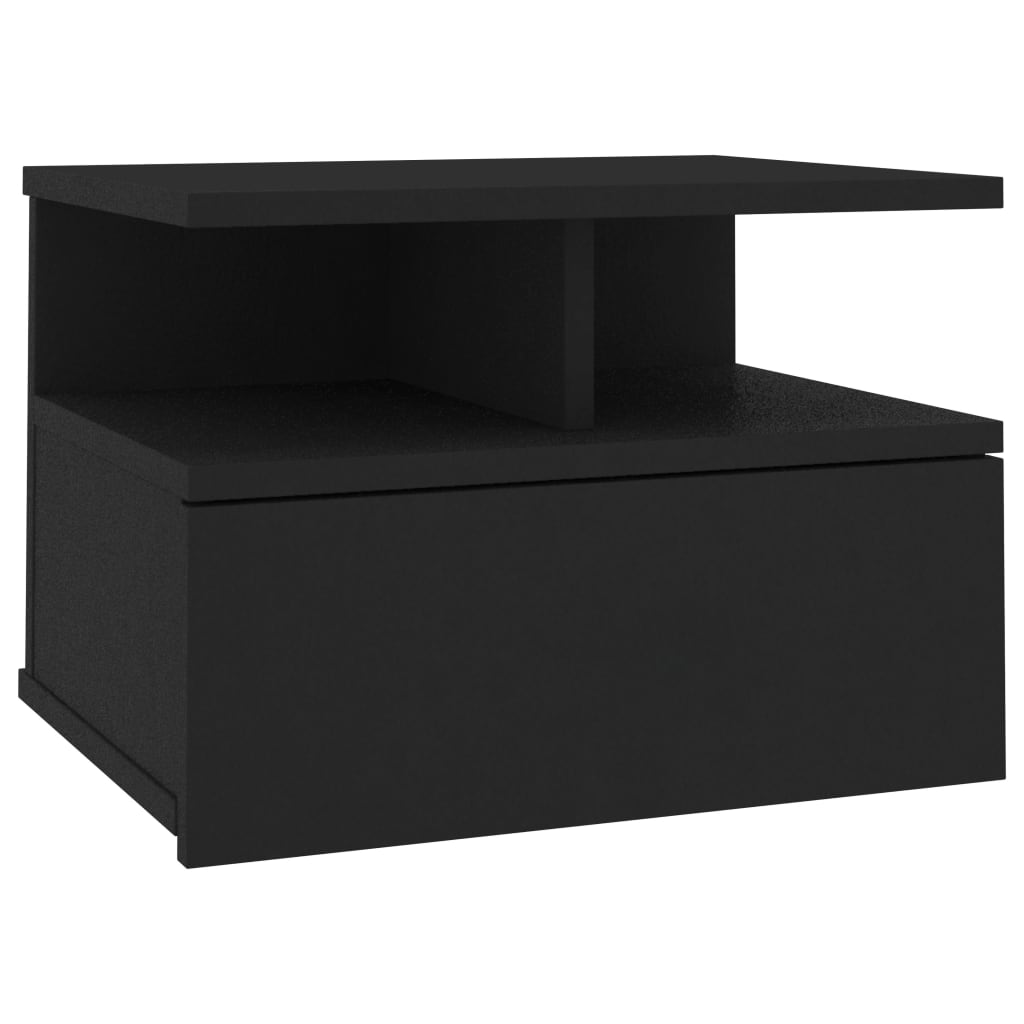 Floating Nightstand Black 40x31x27 cm Chipboard 2