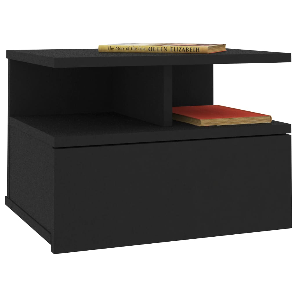 Floating Nightstand Black 40x31x27 cm Chipboard 3
