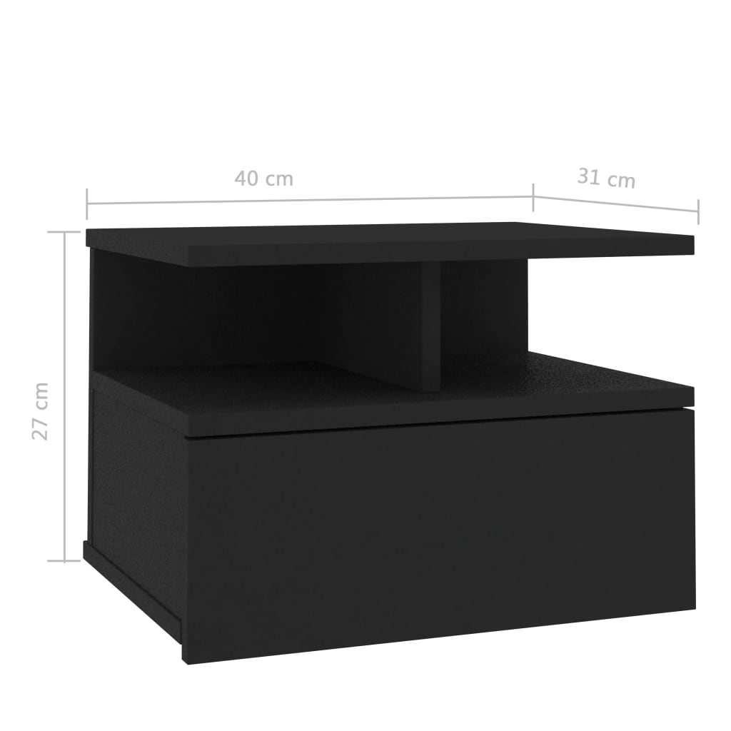Floating Nightstand Black 40x31x27 cm Chipboard 7
