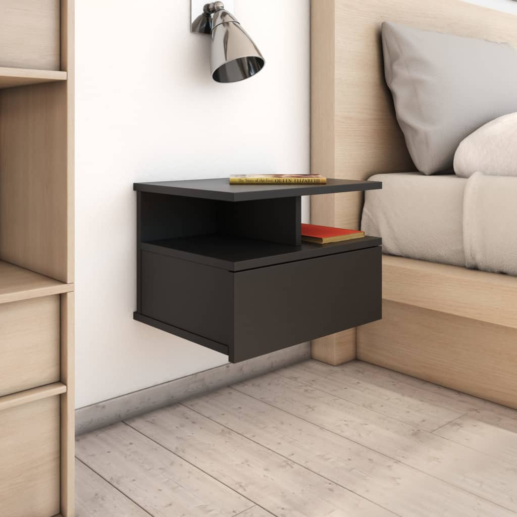 Floating Nightstand Black 40x31x27 cm Chipboard 1