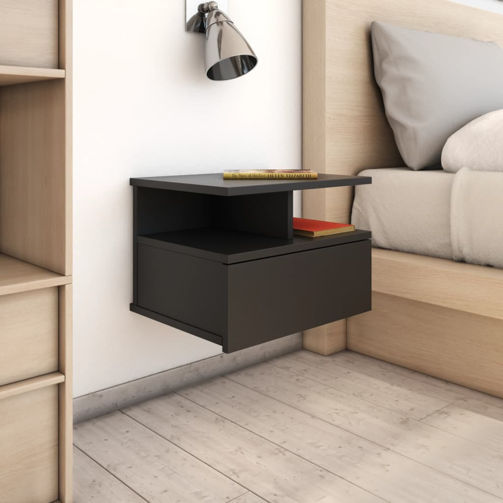 Floating Nightstands 2 pcs Black 40x31x27 cm Chipboard