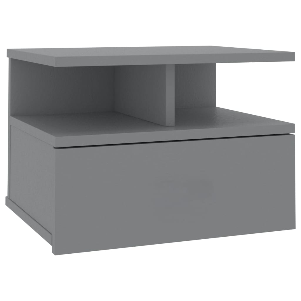 Floating Nightstand Grey 40x31x27 cm Chipboard 2