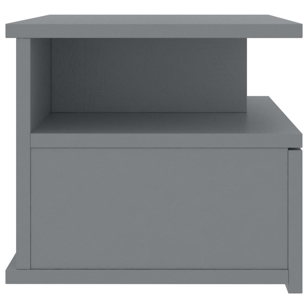 Floating Nightstand Grey 40x31x27 cm Chipboard 5
