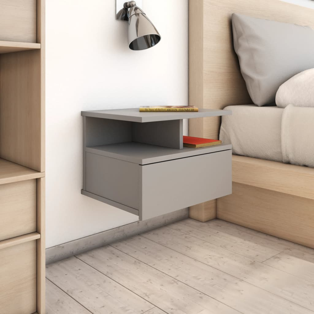 Floating Nightstand Grey 40x31x27 cm Chipboard 1
